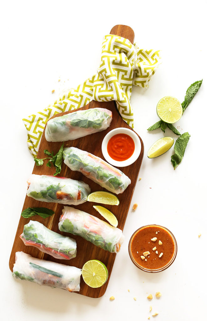 Vegan-Vietnamese-Spring-Rolls-with-Crispy-Tofu-and-almond-butter-dipping-sauce-30-minutes-and-SO-delicious
